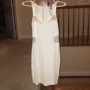 White mini dress with sheer cut outs